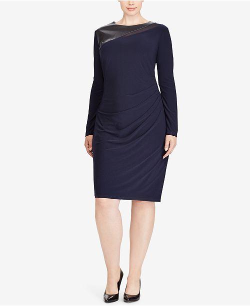 Lauren Ralph Lauren Plus Size Faux-Leather-Trim Dress & Reviews ...