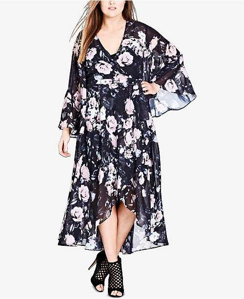 City Chic Trendy Plus Size High-Low Wrap Dress