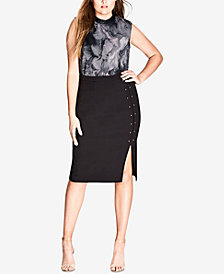 City Chic Trendy Plus Size Sharp Stud Skirt