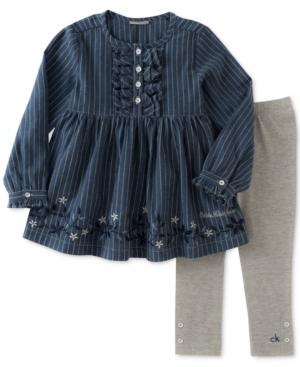 Calvin Klein 2Pc Striped Denim Tunic  Leggings Set Baby Girls (024 months)