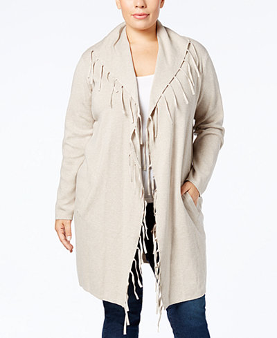 Style & Co Plus Size Fringe Duster Cardigan, Created for Macy's ...