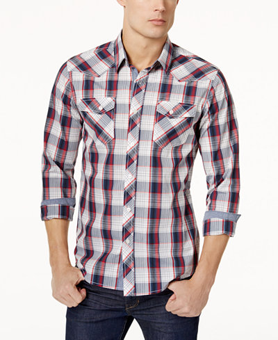 American Rag Men's Western Plaid Long Sleeve Shirt, Created for ...
