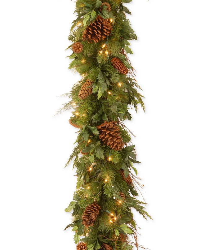 National Tree Company 6' Decorative Collection Juniper Mix Pine Garland with 100 LED Lights