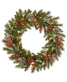 """30"""" Frosted Pine Berry Wreath With Pine Cones, Berries, Eucalyptus Leaves & 50 Battery-Operated LED Lights"""