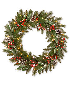 "National Tree Company 30"" Frosted Pine Berry Wreath With Pine Cones, Berries, Eucalyptus Leaves & 50 Battery-Operated LED Lights"
