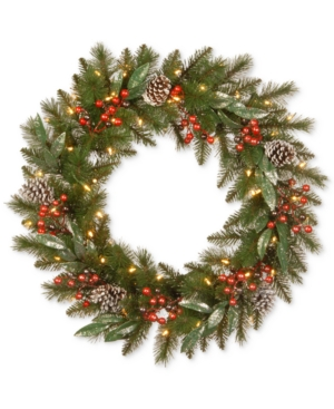 National Tree Company 30 Frosted Pine Berry Wreath With Pine Cones Berries Eucalyptus Leaves  50 BatteryOperated Led Lights