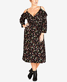 City Chic Trendy Plus Size Floral-Print Surplice Cold-Shoulder Dress