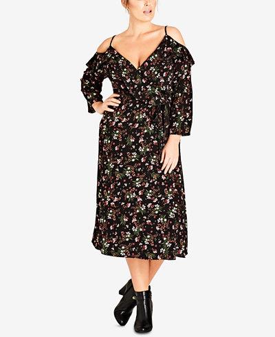 City Chic Trendy Plus Size Floral-Print Surplice Cold-Shoulder Dress