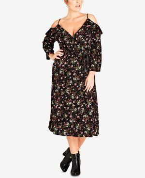 Trendy Plus Size Floral-Print Surplice Cold-Shoulder Dress, Pretty Floral