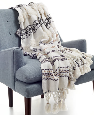 Whim by Martha Stewart Collection Cotton Textured Stripe Dune 50'' x 60'' Throw, Created for Macy's