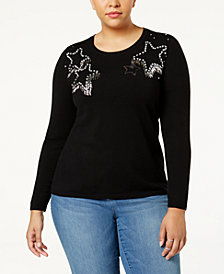 Anna Sui Loves I.N.C. Plus Size Embellished Sweater, Created for Macy's