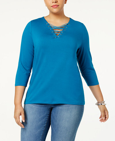 Anna Sui Loves I.N.C. Plus Size Lace-Up Top, Created for Macy's