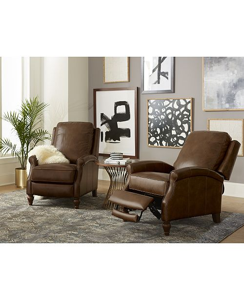 furniture leeah leather pushback recliner furniture macy s