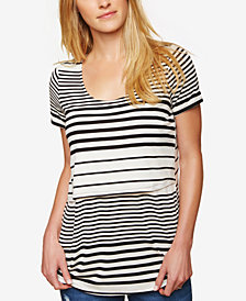 Motherhood Maternity Striped Nursing Top
