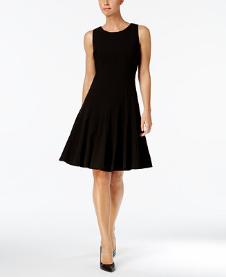 Calvin Klein Petite Sleeveless Pleated A Line Dress Dresses