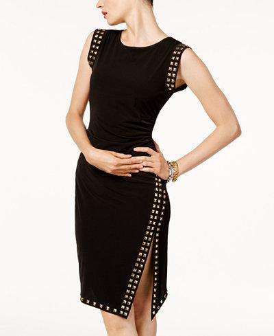 MICHAEL Michael Kors Petite Stud-Trim Side-Slit Dress