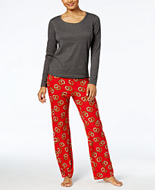 Jenni by Jennifer Moore Top & Printed Fleece Pants Pajama Set, Created for Macy's