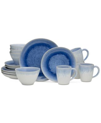 Aventura Blue 16-Piece Dinnerware Set, Service for 4