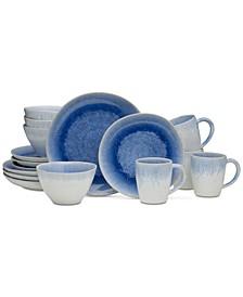 Aventura Blue 16-Piece Dinnerware Set, Service for 4