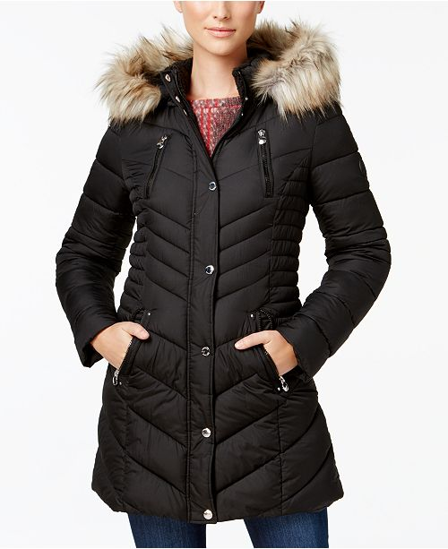 ed2b27278d56 Laundry by Shelli Segal Faux-Fur-Trim Quilted Puffer Coat   Reviews ...