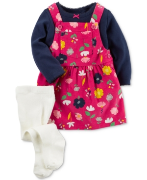 Carters 3Pc Top FloralPrint Jumper  Tights Set Baby Girls (024 months)