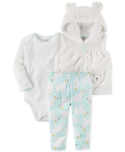 Carter's 3-Pc. Hooded Vest, Bodysuit & Pants Set, Baby Girls