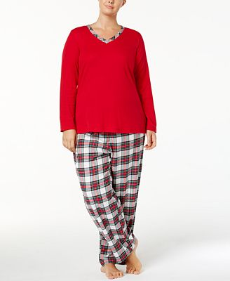 Charter Club Plus Size Trimmed Knit Top and Printed Pants Pajama Set, Created for Macy's