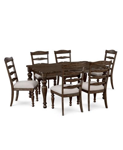 CLOSEOUT! Hamilton Expandable Dining Furniture, 7-Pc. Set (Dining ...