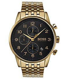 Hugo Boss Men's Chronograph Navigator Gold-Tone Stainless Steel Bracelet Watch 44mm