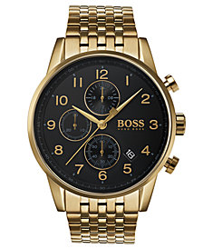 BOSS Hugo Boss Men's Chronograph Navigator Gold-Tone Stainless Steel Bracelet Watch 44mm
