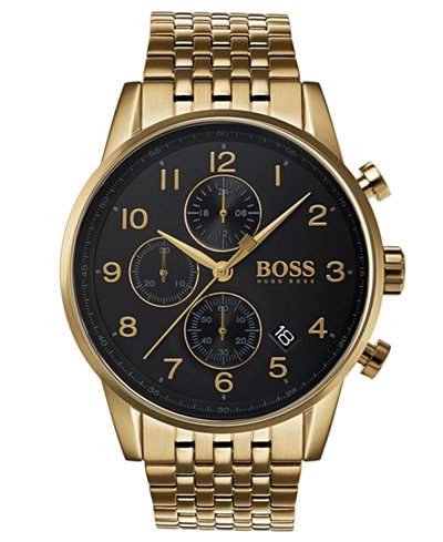 BOSS Hugo Boss Men's Chronograph Navigator Gold-Tone Stainless Steel Bracelet Watch 44mm