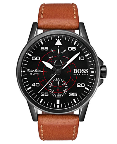 BOSS Hugo Boss Men's Aviator Khaki Leather Strap Watch 44mm