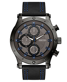 Kenneth Cole Reaction Men's Black Faux Leather Strap Watch 48mm