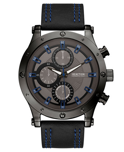 Kenneth Cole Reaction Men's Black Faux Leather Strap Watch 48mm