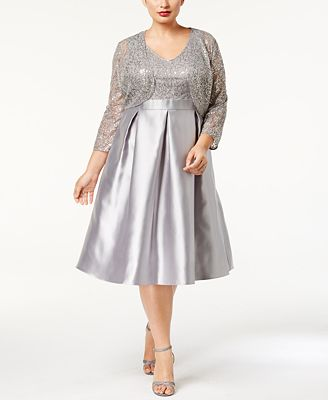 SL Fashions Plus Size Sequined Dress and Jacket