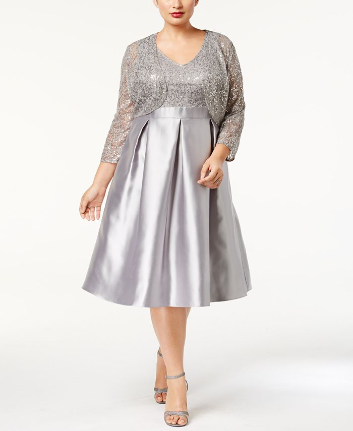 SL Fashions - Plus Size Sequined Fit & Flare Dress & Jacket