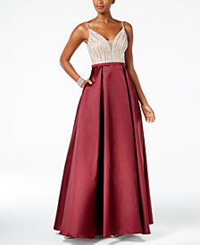Xscape Deep-V Sequined Gown