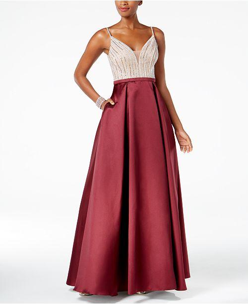 2633459f490 XSCAPE Deep-V Sequined Gown   Reviews - Dresses - Women - Macy s
