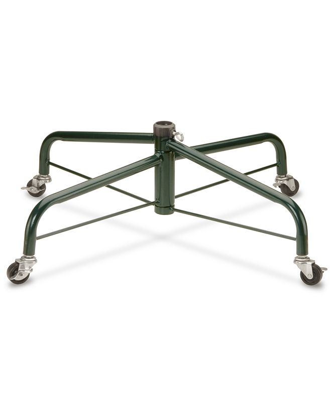 National Tree Company Folding Metal Tree Stand With Rolling Wheels