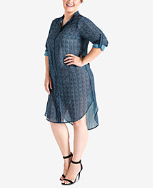 Standards and Practices Plus Size Millicent Printed Shirtdress