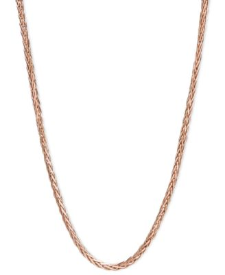 "14k Rose Gold Necklace, 16"" Diamond Cut Wheat Chain (9/10mm)"