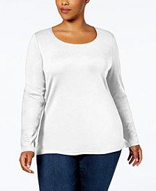 Karen Scott Plus Size Cotton Long-Sleeve T-Shirt, Created for Macys'