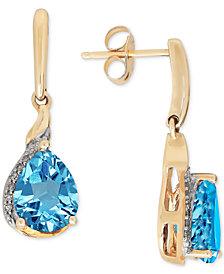 Blue Topaz(2-3/8 ct. t.w.) & Diamond Accent Drop Earrings in 14k Gold