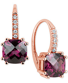 Rhodolite (6 ct. t.w.) & Diamond Accent Drop Earrings in 14k Rose Gold