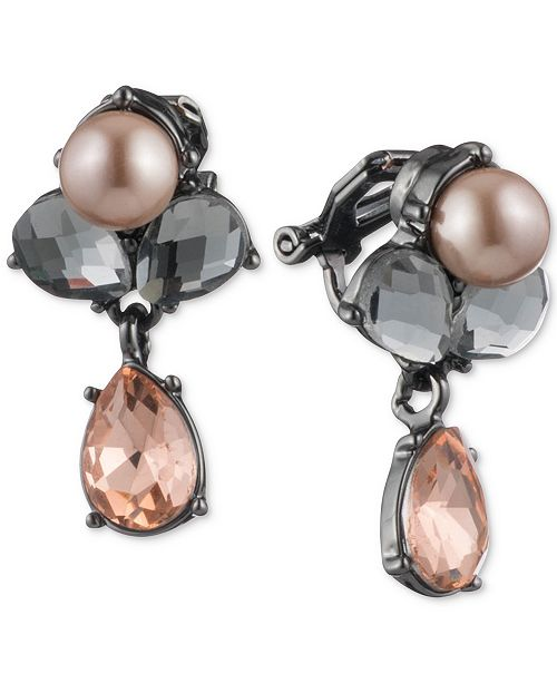 Carolee Hematite-Tone Colored Crystal & Pink Imitation Pearl Drop Earrings