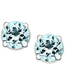 Aquamarine Stud Earrings in 14k White Gold (1 ct. t.w.)