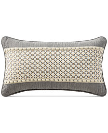 "Waterford Charlize Embroidered Gray 11"" x 20"" Decorative Pillow"