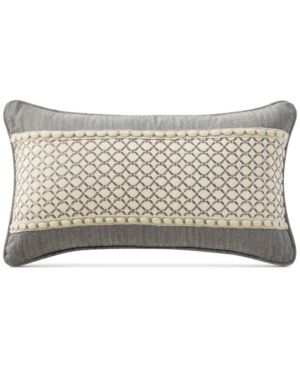 """Waterford Charlize Embroidered Gray 11"""" x 20"""" Decorative Pillow Bedding 5044490"""