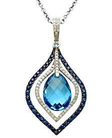 Gemma by EFFY Blue Topaz (7-1/3 ct. t.w.) Sapphire Accent and Diamond Accent Pendant