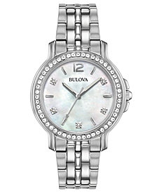 Bulova Women's Crystal Stainless Steel Bracelet Watch 34mm, Created for Macy's